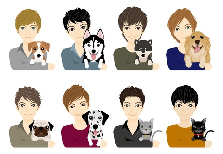 Boy  Dog  Cat Vector