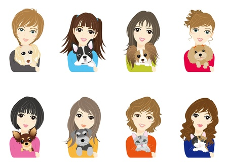 Girl  Dog  Cat Vector