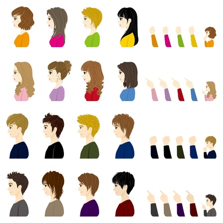 brown hair: Boys and Girls  Face  Side Illustration