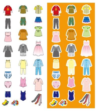 洋服: ファッション子供  イラスト・ベクター素材