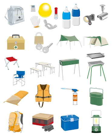first aid kit key: Camping Equipment Illustration