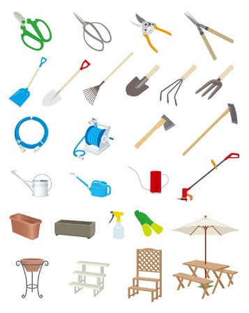 mowers: Gardening tools Illustration