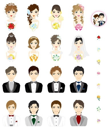 formal attire: Wedding  Men  Women  Face Illustration
