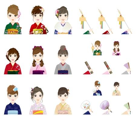 少女着物日本スタイル  イラスト・ベクター素材