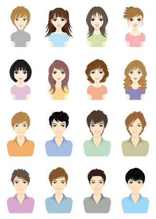 brown hair: Boys and Girls  SUMMER Illustration