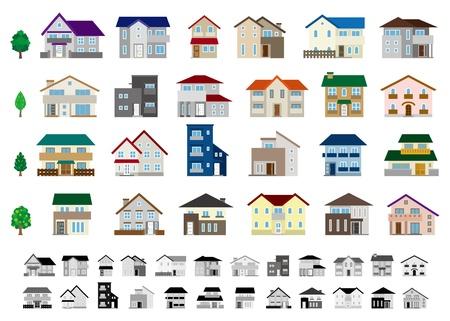 house: Gebouw  Huis Stock Illustratie