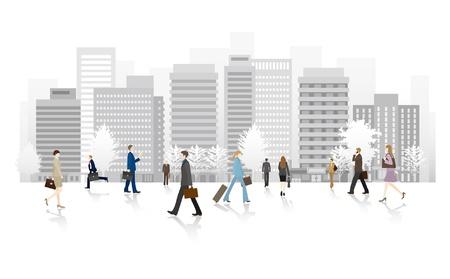 ビジネス人々、通りを歩いて