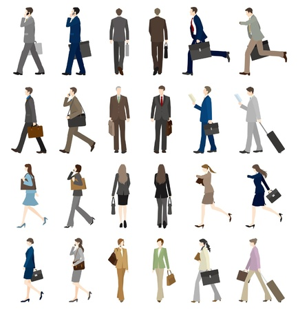 asian business people: Businessmen  Businesswomen  Walk Illustration