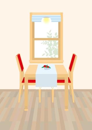 mesa de comedor: Comedor Vectores