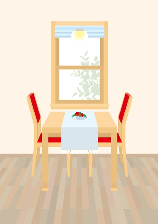 dining table: Dining Room Illustration