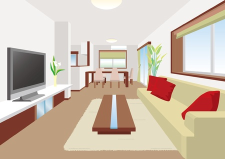 modern living room: Living room Illustration