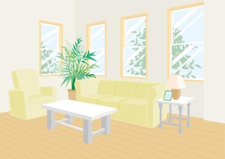 western style room: Living room Illustration