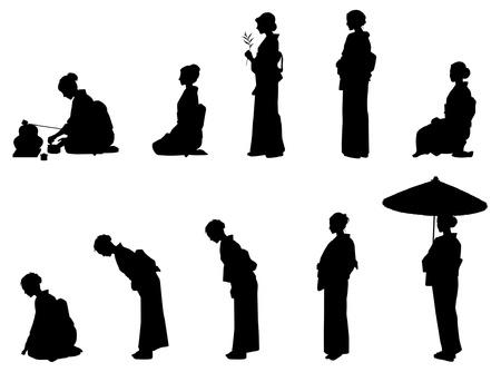 Japón / Kimono Ilustración de vector