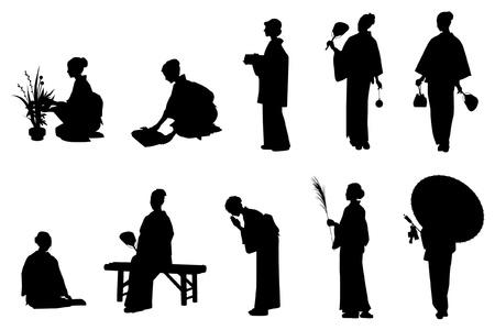 sexy umbrella: Japan  Kimono Illustration