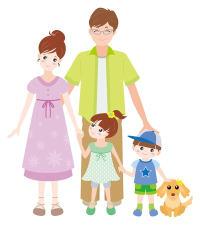 mom son: Family  Summer Illustration
