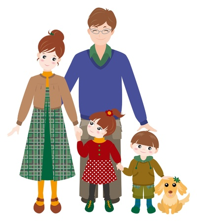 asian couple: Family  Autumn Illustration