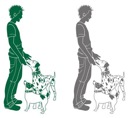 stroking: Man  Dog