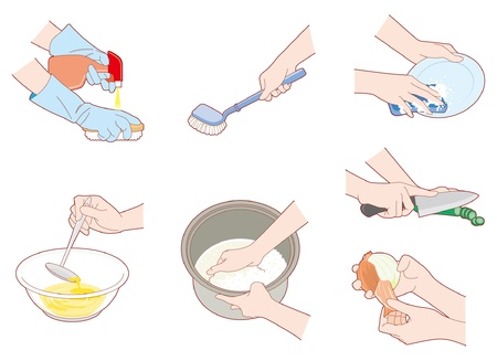 Housework / Hand Vector Illustration