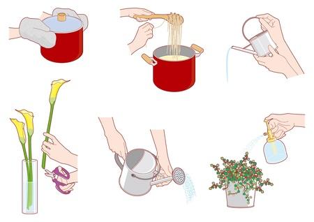 manos limpias: Las tareas del hogar  de la mano