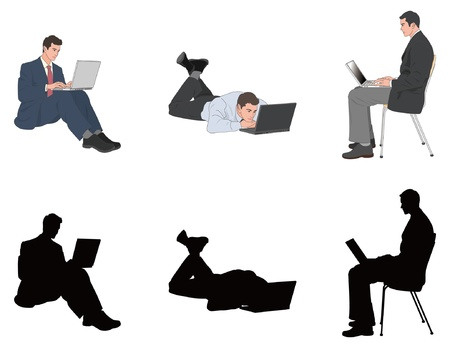 sitting on: Businessman Illustration
