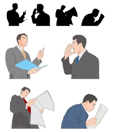 reading newspaper: Businessman Illustration