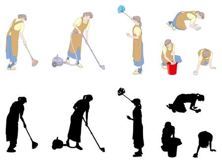 mujer limpiando: Las tareas del hogar  limpieza  Mujer Vectores
