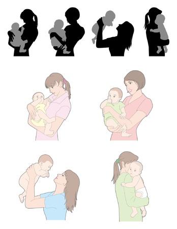 Childcare / Woman  イラスト・ベクター素材