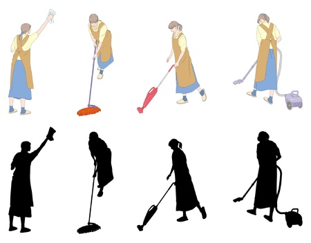 Housework  Cleaning  Woman Vector
