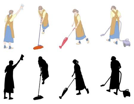 escoba: Las tareas del hogar  limpieza  Mujer Vectores