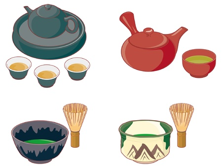 chinese tea: Tea set Illustration