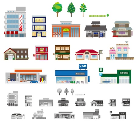 Building  shop Business Vector