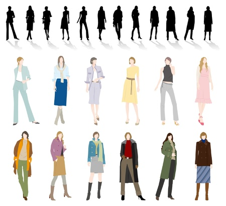 skirt suit: Fashion  Woman Illustration