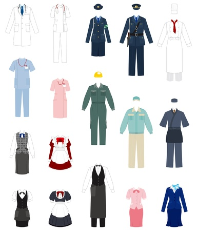 Office uniforms: Negocios  ropa de trabajo Vectores