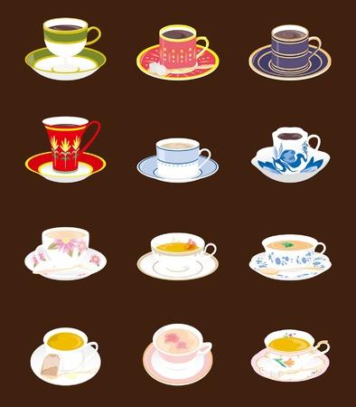ドリンクコーヒーまたは紅茶  イラスト・ベクター素材