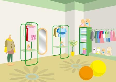 Interior de estilo boutique / / Niños Ilustración de vector