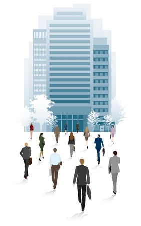 commercial real estate: People of the town business people  Go to the office