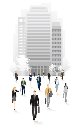 People of the town business people  Return home Vector