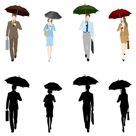 asian business people: Businessman&BusinessWoman  In the rain