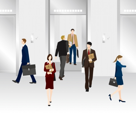 asian business woman: Image of business  Elevator Illustration