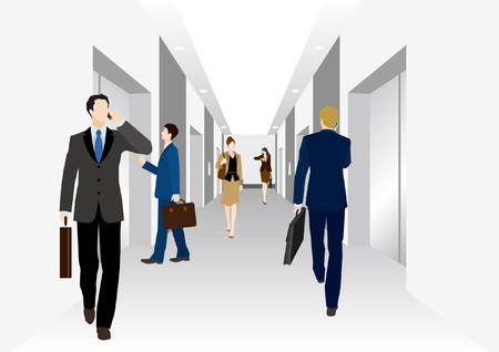 recruit suit: Image of business  Elevator Illustration