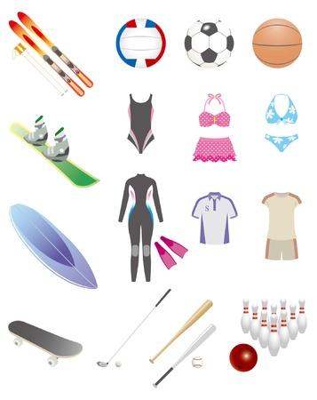 sporting goods: Art�culos deportivos Vectores
