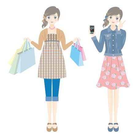 買物をする女性  イラスト・ベクター素材