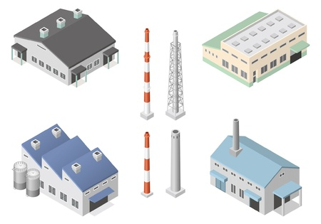 chimneys: Building  Factory Illustration