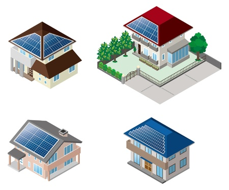 systeme solaire: B�timent  Maison solaire Illustration