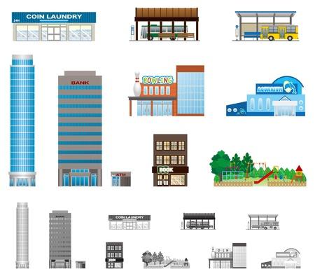 buchhandlung: Das Geb�ude der Stadt Illustration