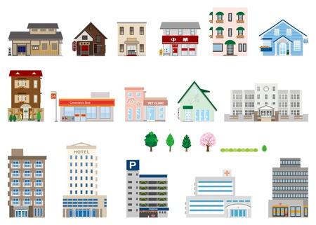 Gebouw / Zakelijk / Shop Vector Illustratie