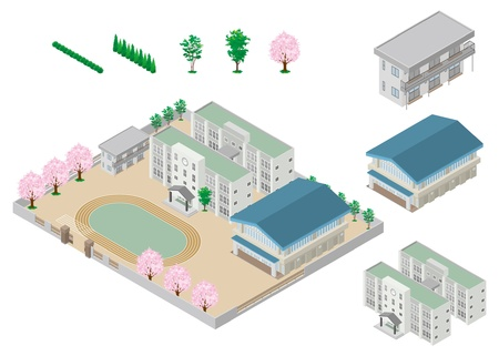 gymnasium: Building  School Illustration