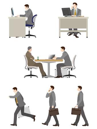 persona sentada: Trabajo del hombre de negocios Vectores