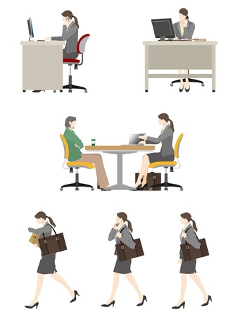 sideways: Businesswoman  Work Illustration