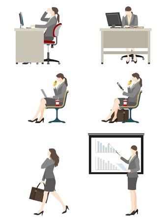 commute: Businesswoman  Work Illustration